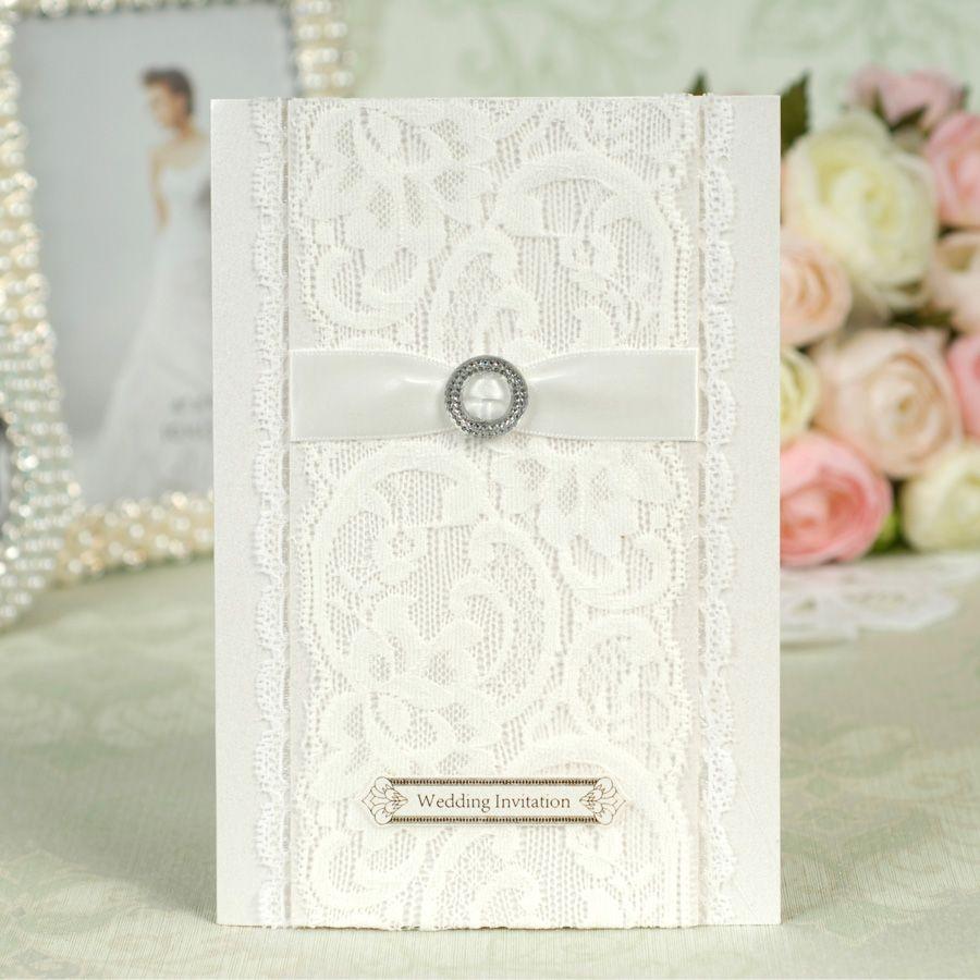 Europe Style Fashion Wedding Invitations White Font B Lace B Font ...