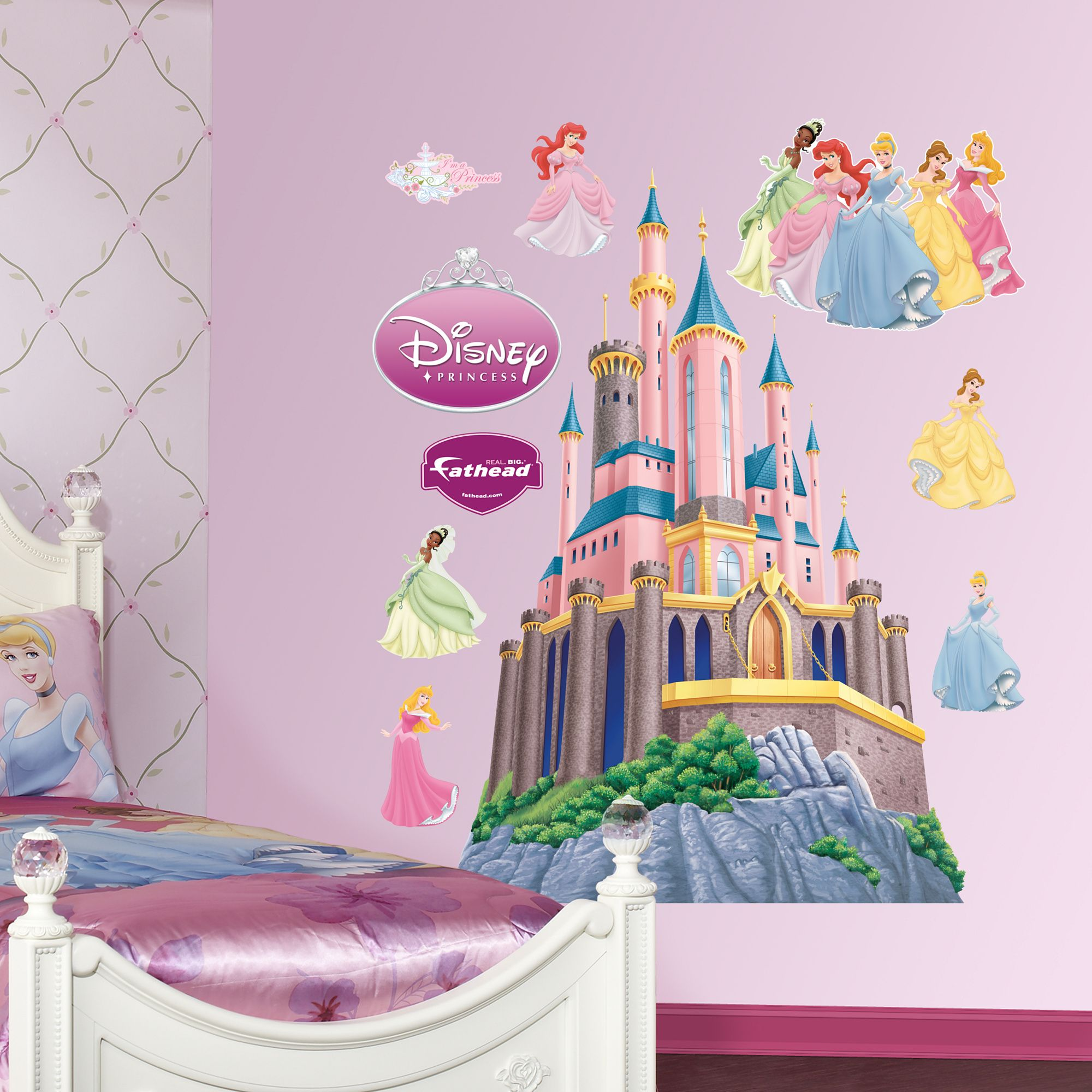 Disney Princess Cinderalla and Bella Wall Stickers Removable ART for Girls Room