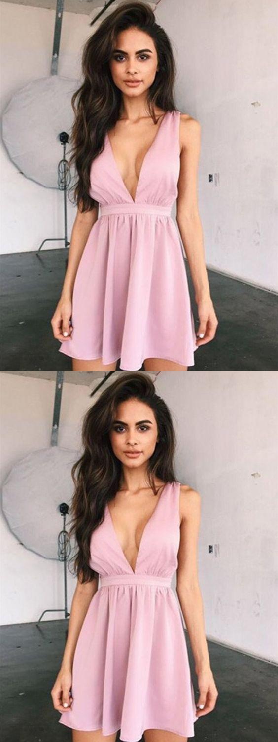 Pink a line v neck short prom dresscheap homecoming dressshort