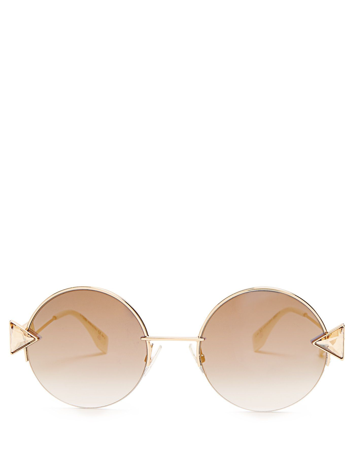 5323c2601b284 Click here to buy Fendi Embellished round-eye metal sunglasses at  MATCHESFASHION.COM