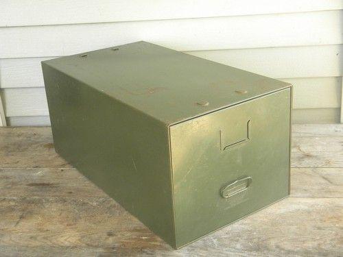 Elegant Vintage Industrial Office File Cabinet Box, Olive Drab Steel Single Drawer