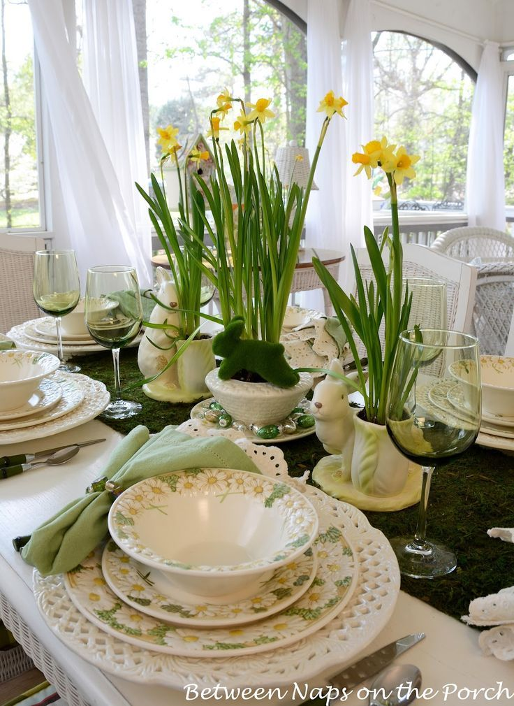 Spring Easter Table Setting with Daffodil and Moss Centerpiece ...
