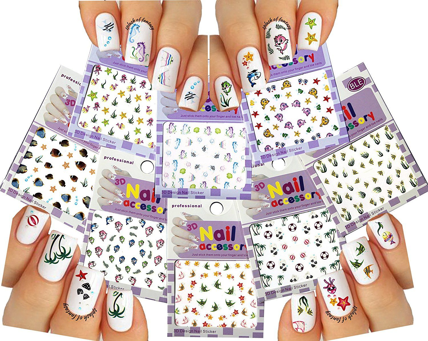 Sea World Nail Art 3D Stickers Decals, Set of 8 *** This is an ...
