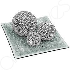 Beautiful Silver Pearl Effect Ball & Plate Set Glass Mosaic 20cm Home Decor Dish