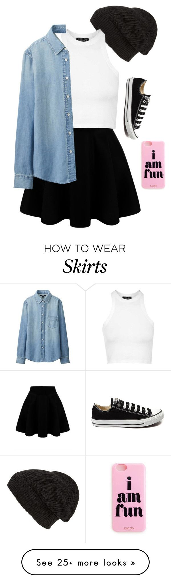 """Forced to wear a skirt"" by blondeblogger23 on Polyvore featuring Phase 3, Topshop, Uniqlo, Converse, women's clothing, women, female, woman, misses and juniors"