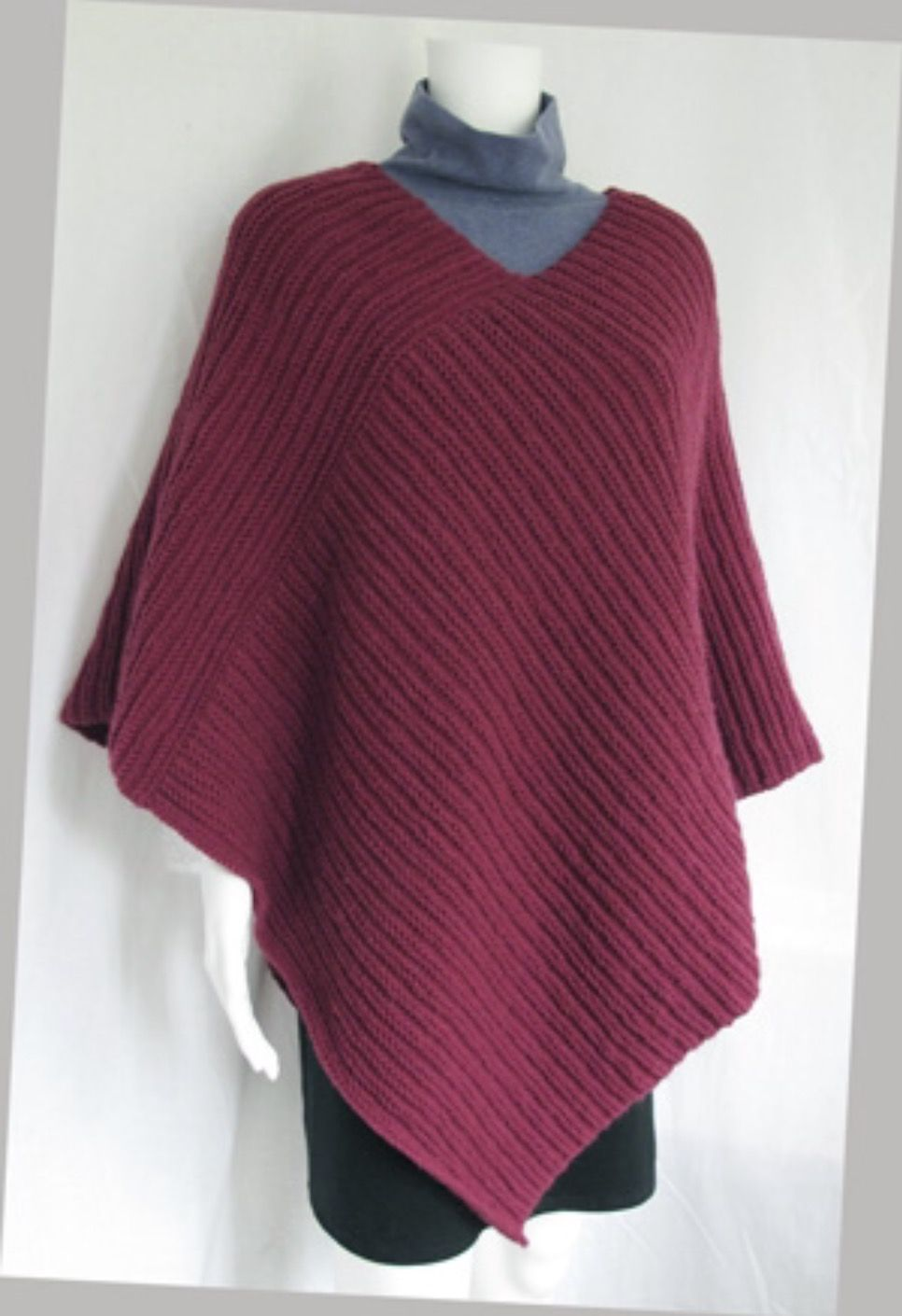 Purly Poncho For Adults Pdf Pattern Poncho Knitting