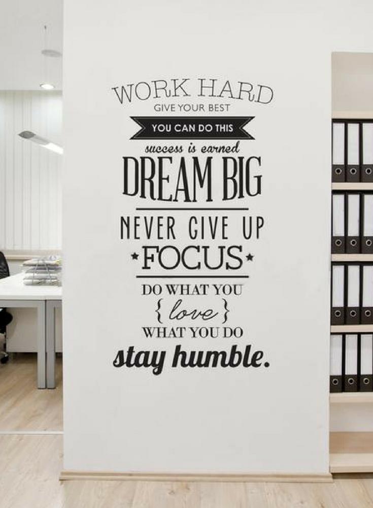 Work Hard Inspiring Quotes Vinyl Wall Art Sticker Never Give Up