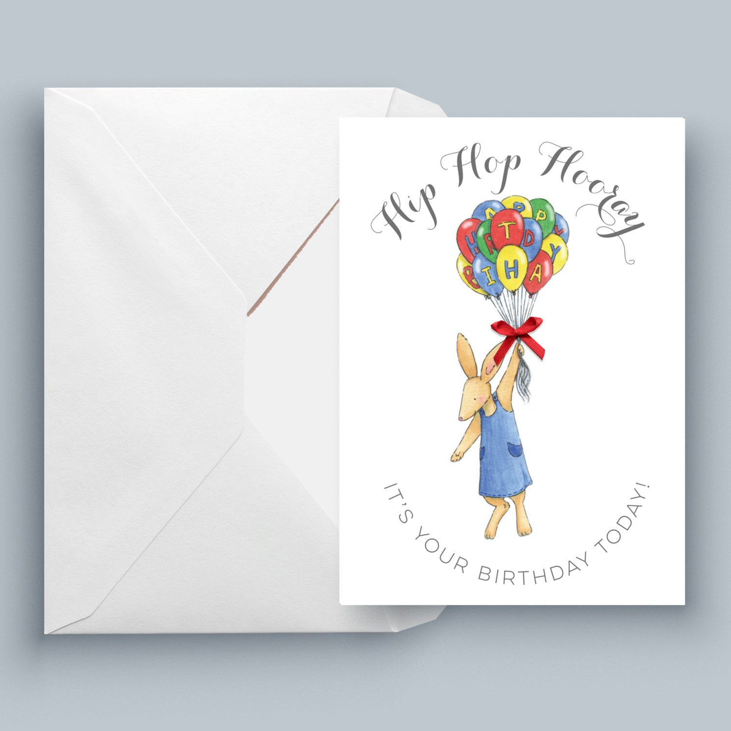 Bunny birthday balloons printed greeting card individual harry bunny birthday balloons printed greeting card individual harry harriet birthday card by harryandharrietcards kristyandbryce Image collections