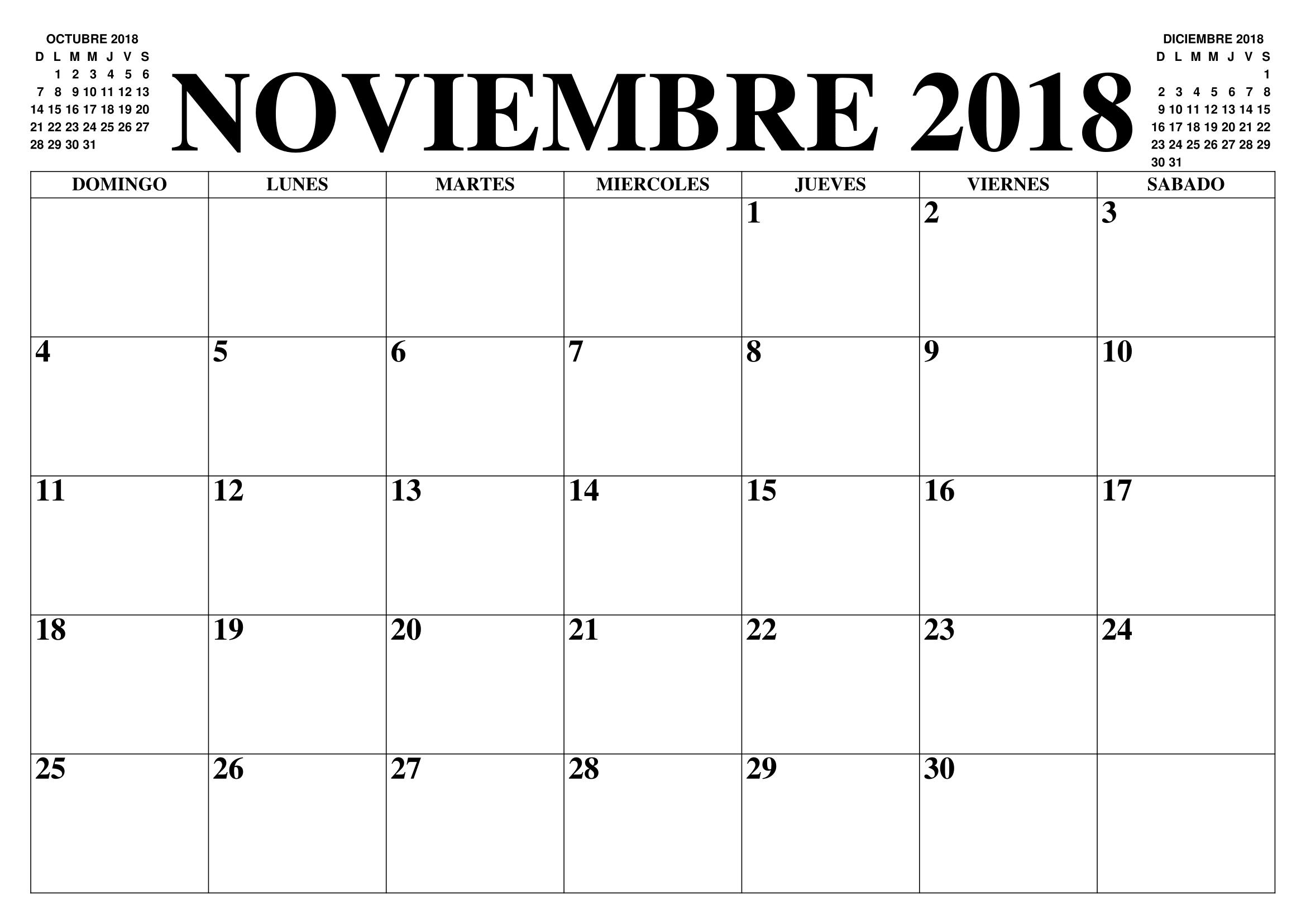 Calendario Diciembre 2019 Chile.Calendario 2018 Noviembre Para Imprimir Calendario 2018