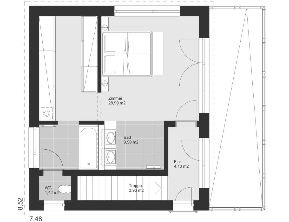 Bezaubernd Dachterrasse Auf Flachdach Bauen Galerie Von Grundriss Dachgeschoss Mit Architektur & - Ideen