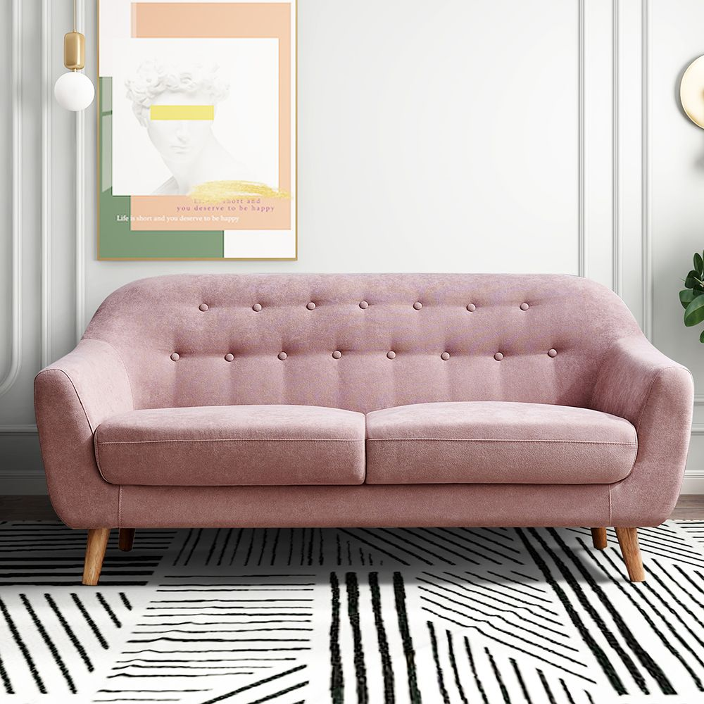 Home Sofas For Small Spaces Mid Century Modern Couch Pink Loveseat