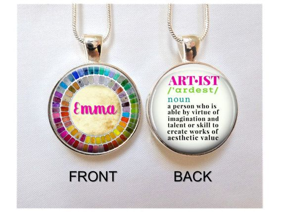 Artist necklace watercolor palette necklace artist pendant gift artist necklace watercolor palette necklace artist pendant gift for artist gift for mozeypictures Gallery
