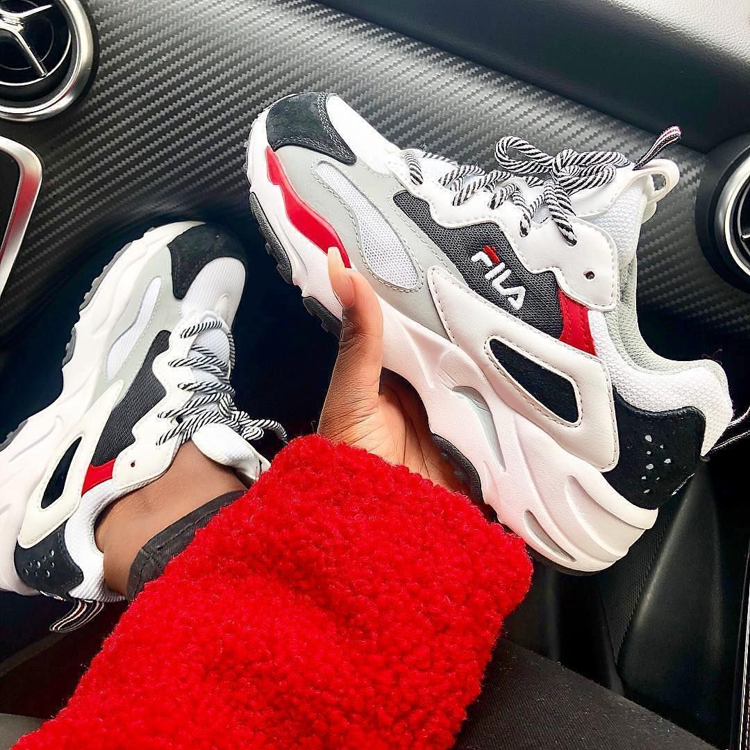 Fila Ray Tracer Sneakers in white, black and red. | fashion ...