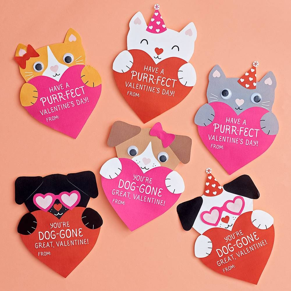 Puppies And Kittens Valentine Card Kit Valentine Cards Handmade Diy Valentines Cards Valentines Day Cards Diy
