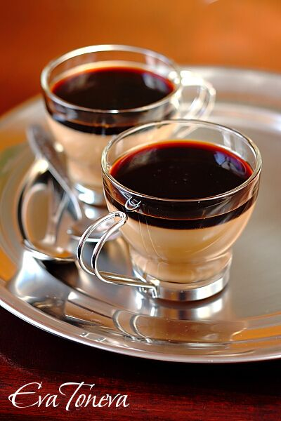 Ingredients for 4 servings: 200 ml milk 200 ml cream 30% 5 g gelatin 3 tablespoons sugar 1-2 tsp instant coffee 1 tablespoon coffee liqueur  For the syrup: 125 ml strong espresso 125 g sugar  Preparation: Dissolve gelatin in cold water according to package directions. In a fireproof bowl, mix milk, cream and sugar, heat to dissolve it without the mixture to boil. Add gelatin, stir good. Add coffee and liqueur, stir. Cool mixture to room temperature, divide into 4 cups of 200…