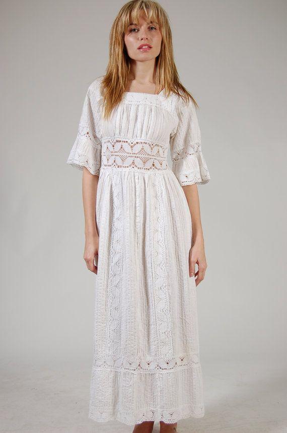 @Laura Jayson Weller Vintage 70s MEXICAN Wedding Dress White CROCHET Pin Tuck Boho Maxi. $75.00, via Etsy.