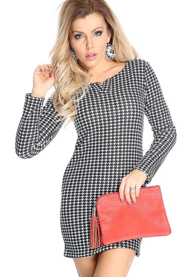 Make a statement with this simple, yet sexy dress! Featuring v neck, long sleeves, plus lining, above knee length, and fitted. 100% Polyester