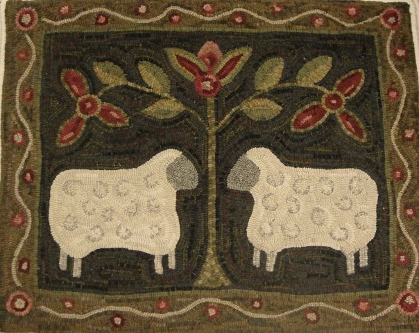 Two Sheep Hooked Rug
