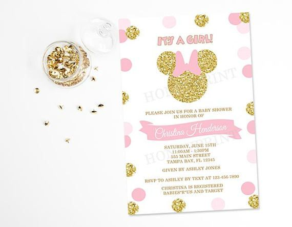 Pin by honeyprint on honeyprint baby shower invitations pinterest pink and gold minnie mouse baby shower invitation gold minnie filmwisefo
