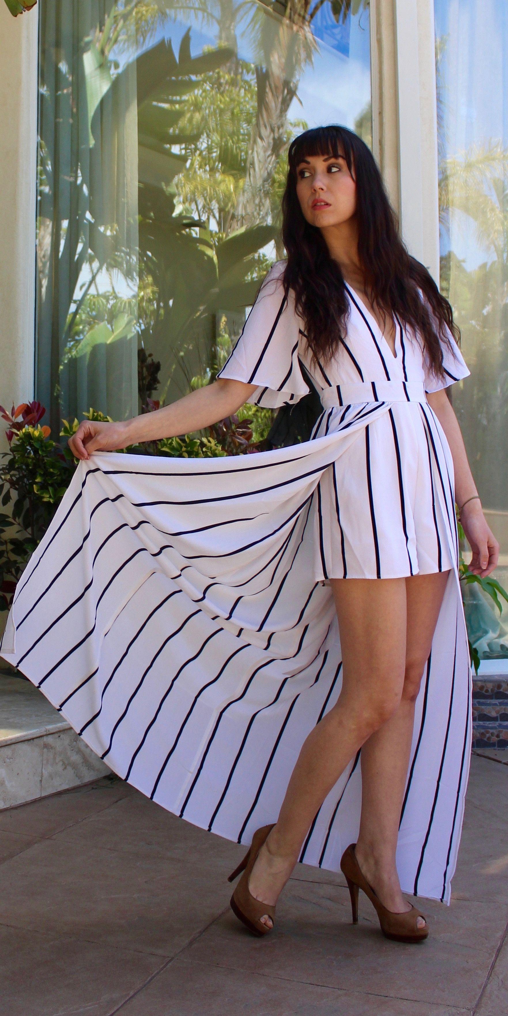 257e84b4f73e Short Sleeve Striped Romper Maxi Dress
