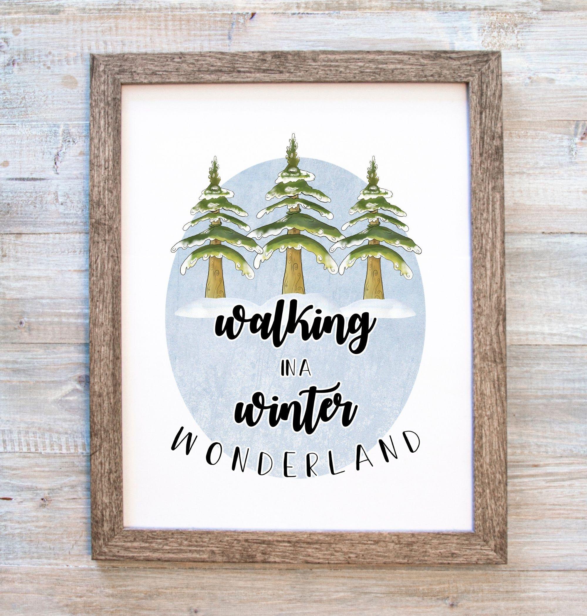 Winter Printable Walking In A Winter Wonderland Snow Scene Etsy In 2021 Winter Wall Art Winter Printables Free Winter Print