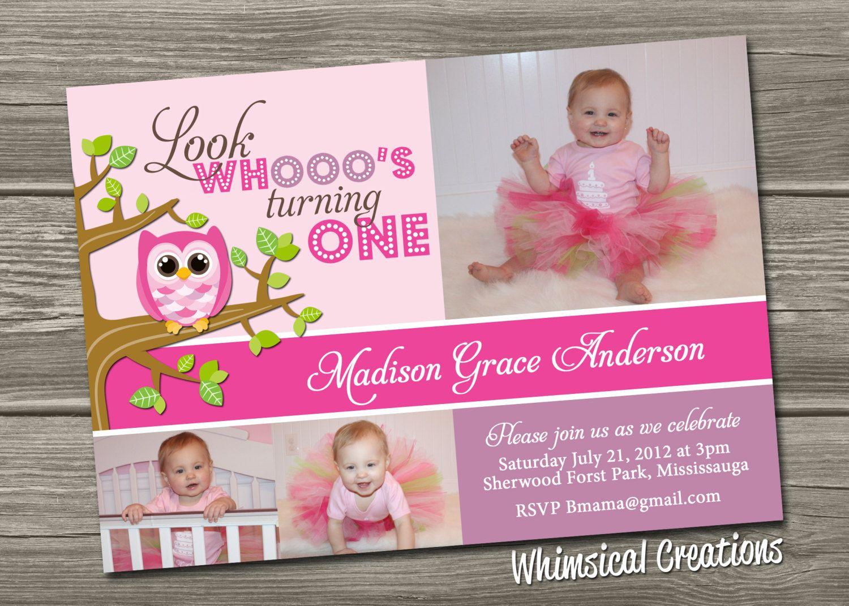 Owl 1st Birthday Invitation (Digital File) Owl Birthday Invite - Boy ...