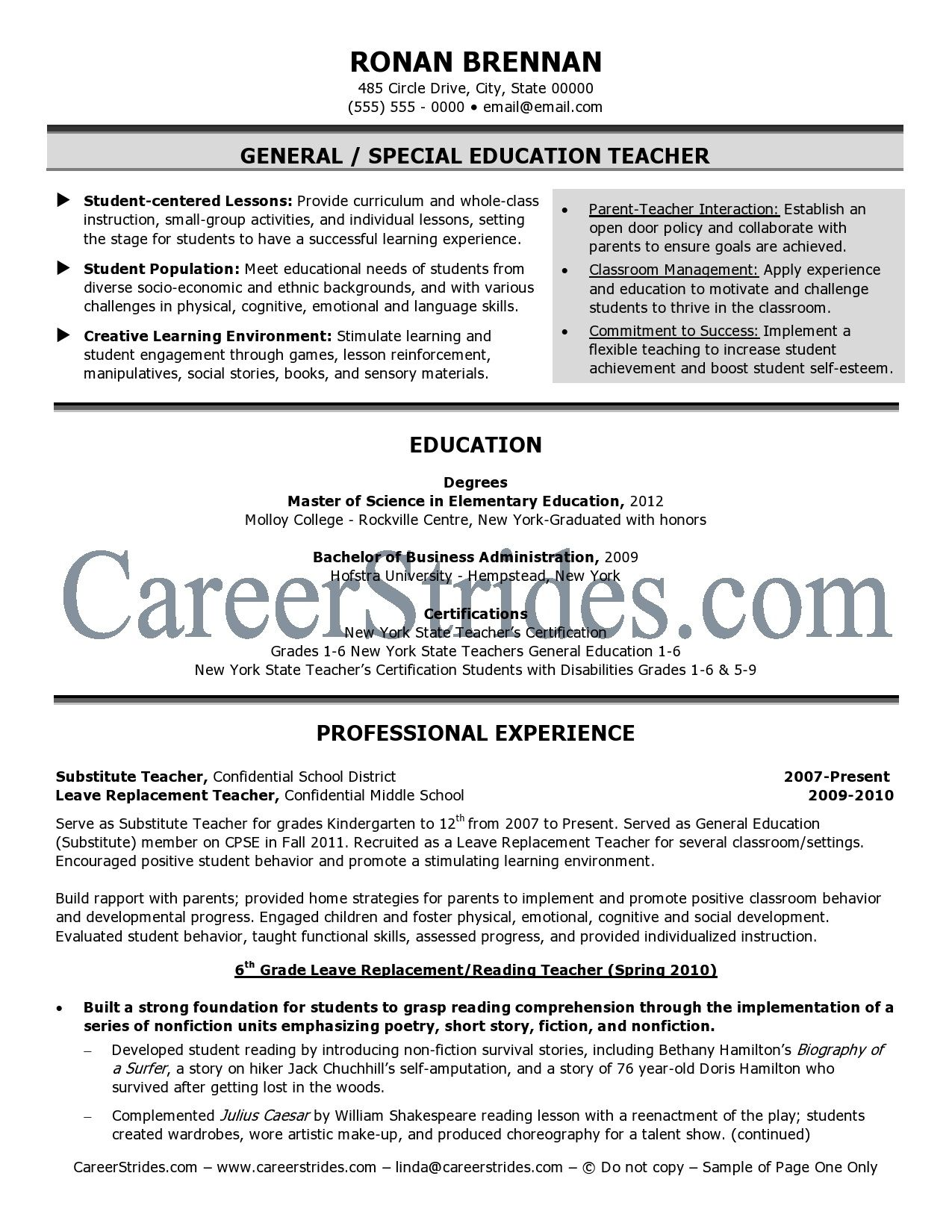 Education Resume Template Elementary Teacher Resume Examples  Httpwwwresumecareer