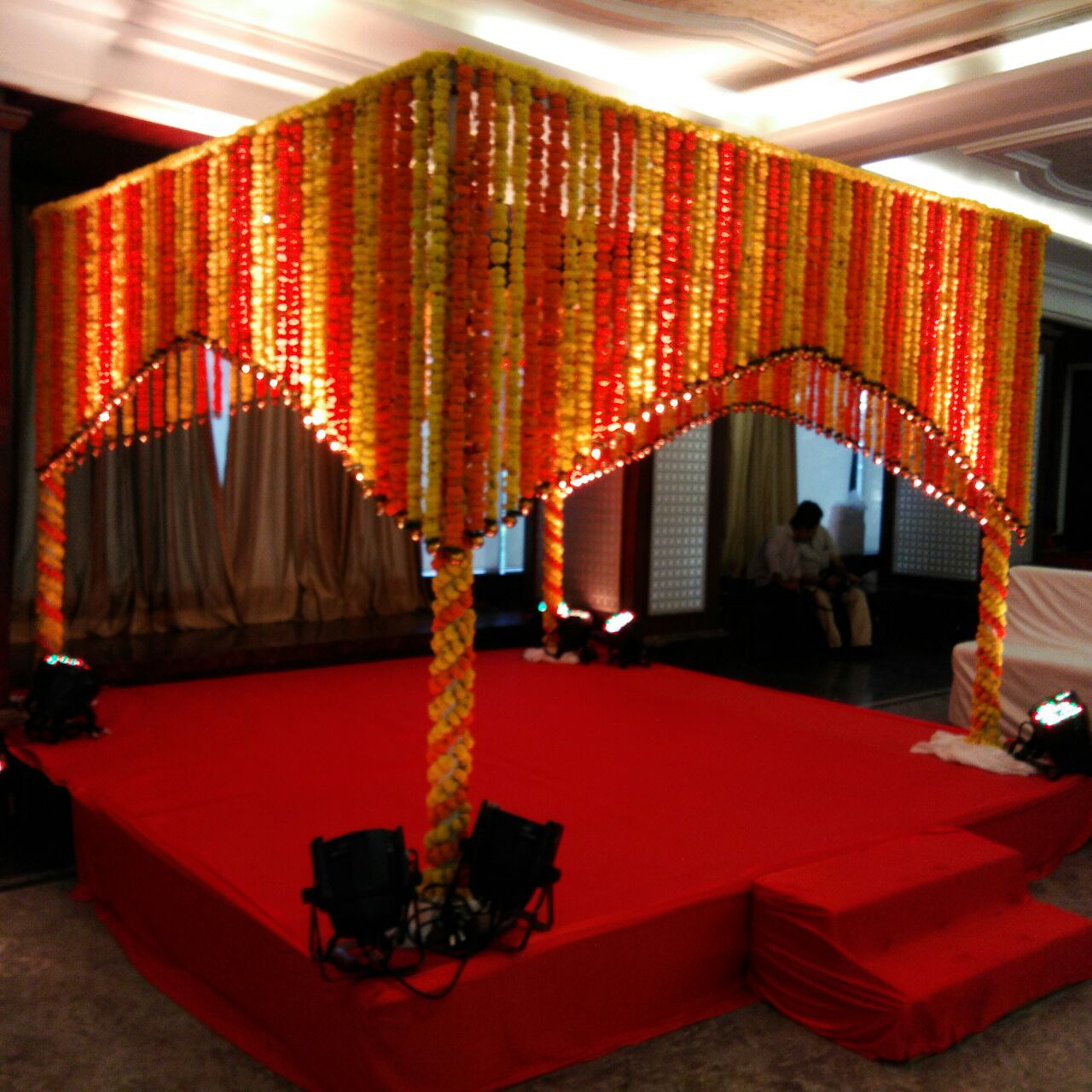 Simple Wedding Stage Decoration Ideas: Marigold Flowers Can Really Make A Simple Stage Look Beautiful