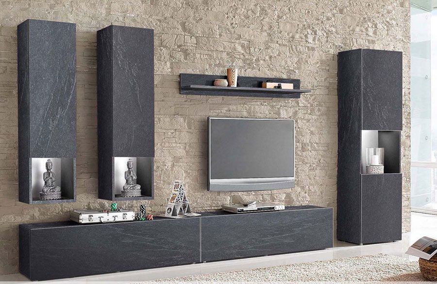 ensemble meuble tv effet b ton cir design monza. Black Bedroom Furniture Sets. Home Design Ideas