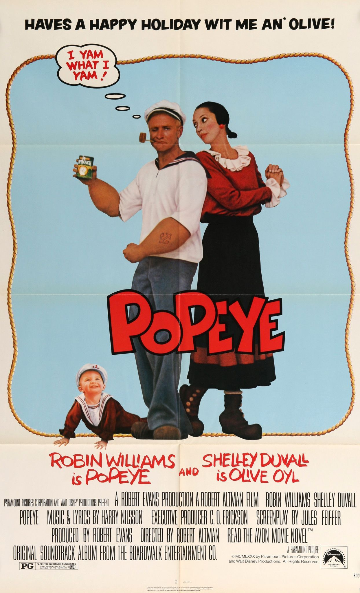 """Film: Popeye (1980) Year poster printed: 1980 Country: USA Size: 27"""" x 41"""" This is a vintage one-sheet movie poster from 1980 for Popeye starring Robin Williams, Shelley Duvall, Ray Walston, Paul Dool"""