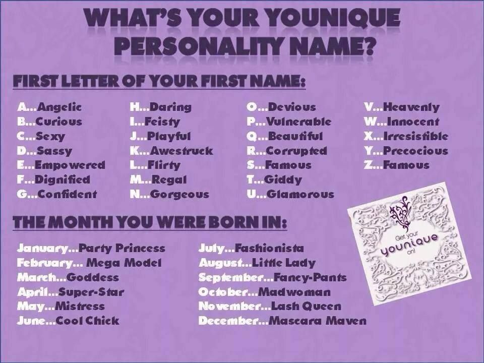 What Is Your Younique Personality Name? | Online Party | Pinterest | Younique Party Lashes And ...
