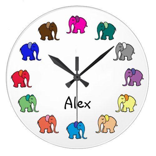 Personalised Rainbow Colored Cute Elephants Parade Large Clock