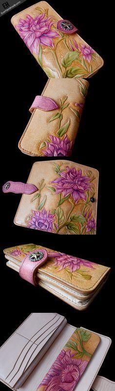 Handcraft vintage hand painting Dahlia pinnata leather long wallet for women #walletsforwomen