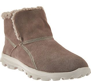 where to buy 50% off really cheap Skechers GOwalk Suede Faux Fur Boots w/ Memory FormFit ...