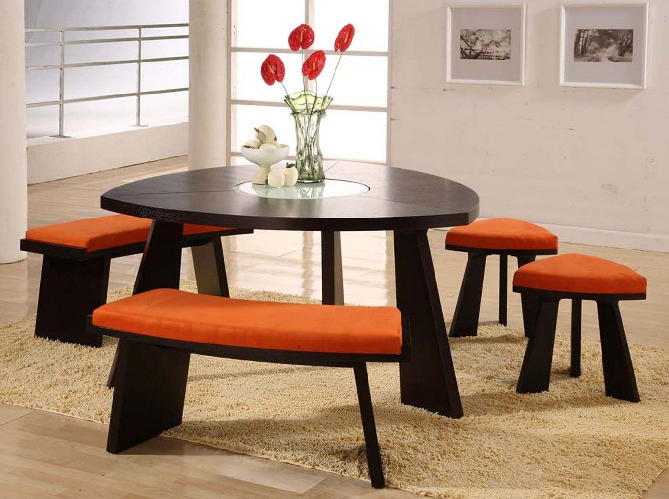 Superb Triangle Shaped Dining Table Set