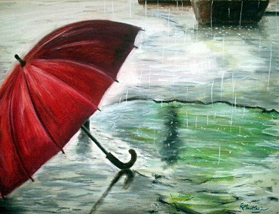 руководствоваться рисунок зонтики под дождем можно изготовить