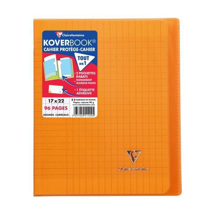 CLAIREFONTAINE – Cahier piqûre KOVERBOOK – 17 x 22 – 96 pages Seyès – Couverture Polypro translucide – Couleur orange – Eva College
