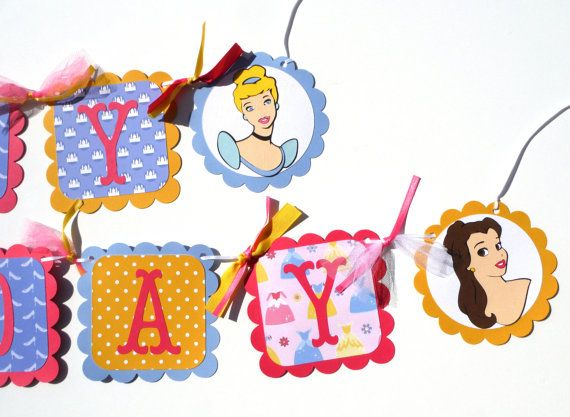 Disney Princess Themed Happy Birthday Banner Party Decoration With