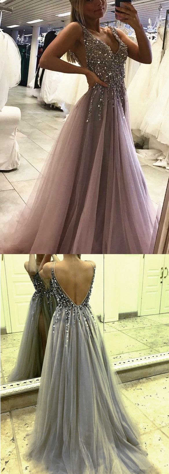 Gray long prom dress with beads formalbridal gowns pinterest