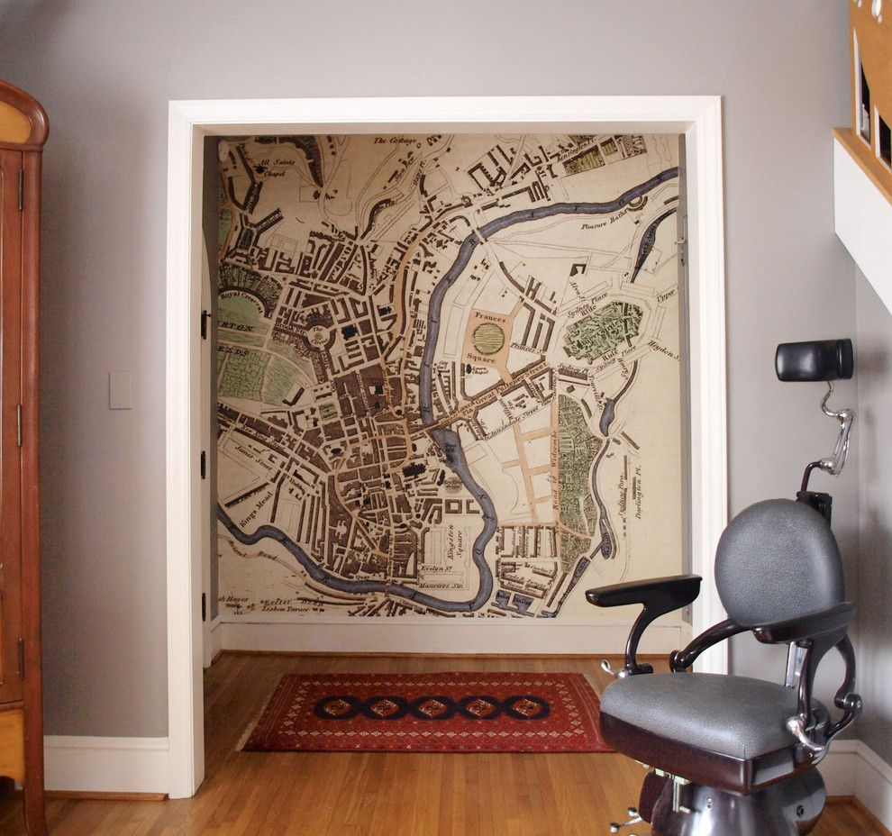 Vintage world map framed hall traditional with feature wall vintage vintage world map framed hall traditional with feature wall vintage barber chair door casing wall mural gumiabroncs Images