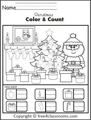 Free Christmas Color and Counting Worksheet. | school ideas ...