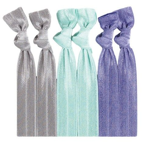 Danica™ Hair Tie Set- 6 HAIR TIES: 2 Solid Lilac | 2 Solid Mint | 2 Solid Steel. Race over to get these on trend hair ties.