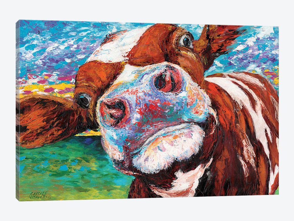 Curious Cow I Canvas Art By Carolee Vitaletti Cow Canvas Cow