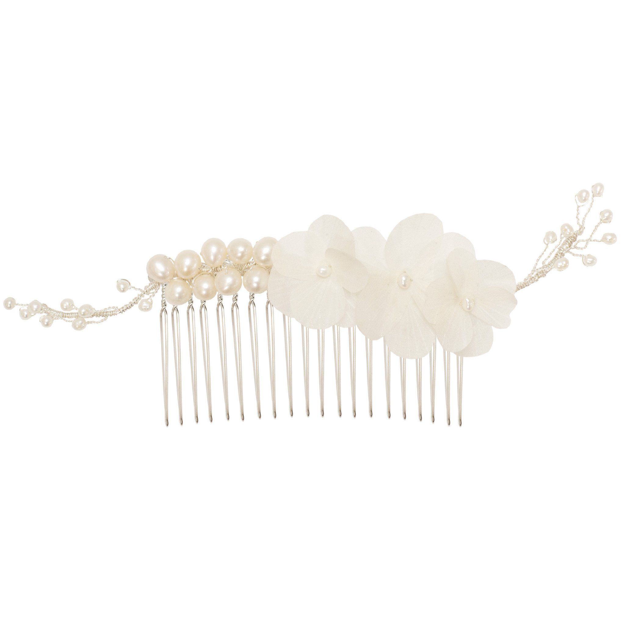 Silk Flower Silver Comb For A Bride Helvia Britten Weddings
