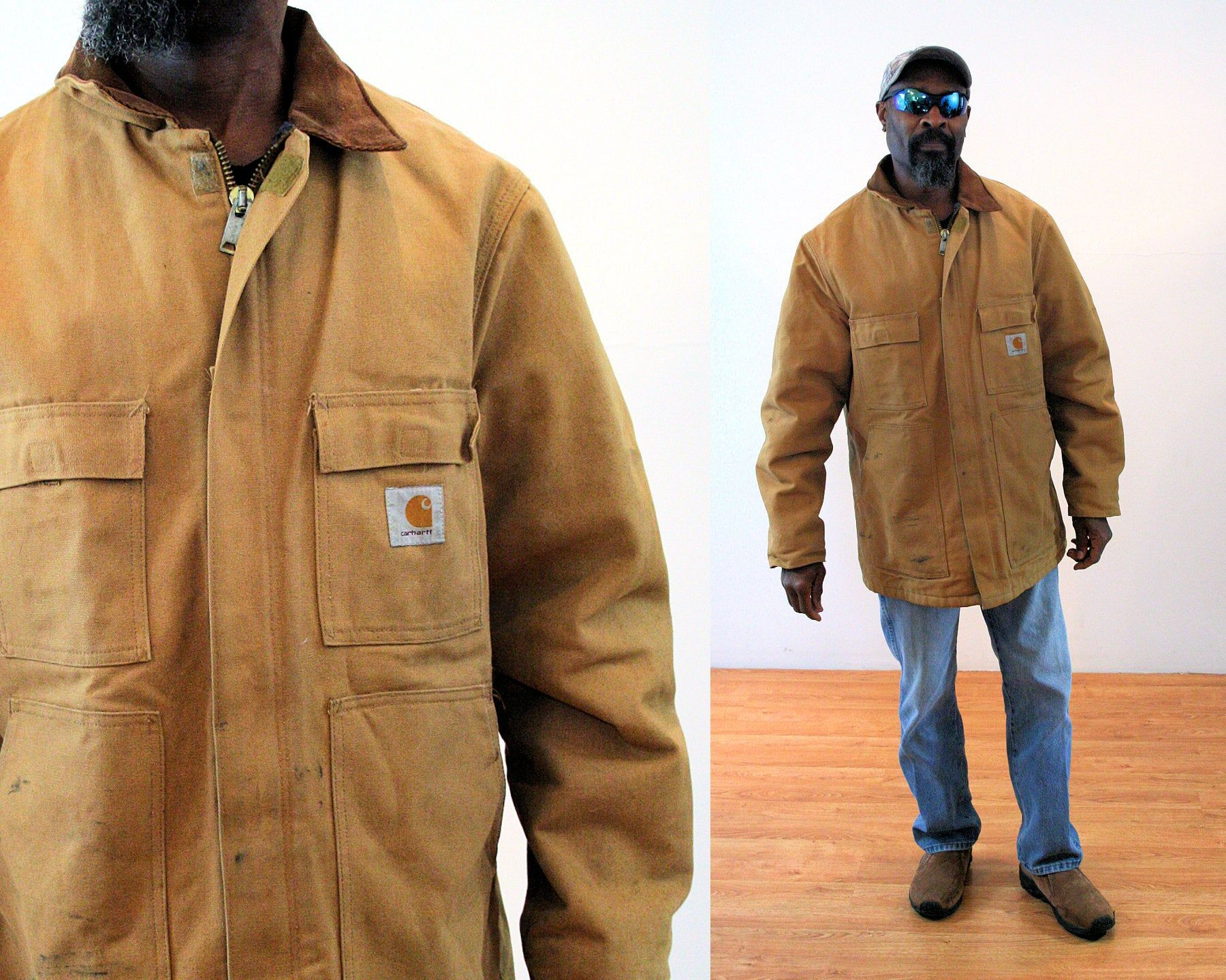 80s Carhartt Chore Coat 44 L Xl Heavy Duty Rugged Blanket Lined Distressed Vintage Jacket Large Vintage Jacket Carhartt Chore Coat Vintage Flannel Shirt [ 1440 x 1800 Pixel ]