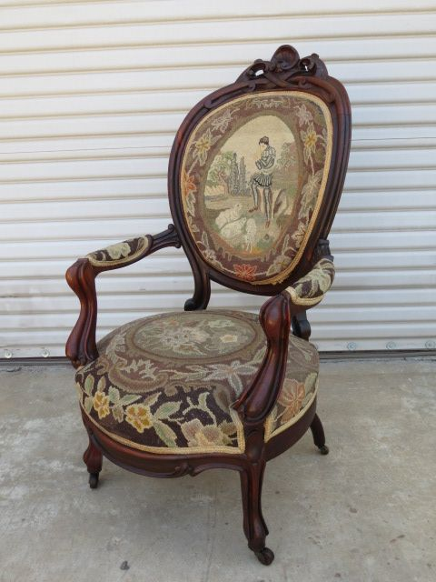 This is a wonderful hand carved American antique Victorian arm chair that  is made out of walnut and dates from 1860-1870 - This Is A Wonderful Hand Carved American Antique Victorian Arm Chair