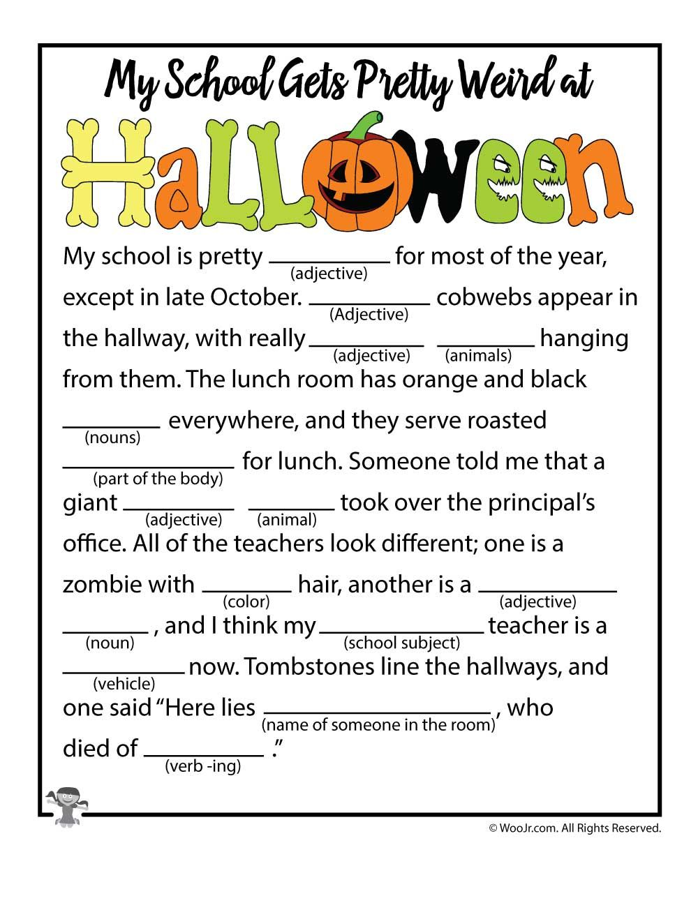 Halloween Mad Libs Classroom fun, Halloween class party