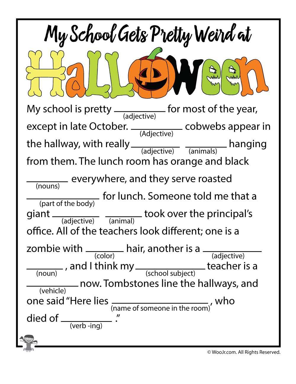 hight resolution of Halloween Mad Libs   Woo! Jr. Kids Activities   Halloween worksheets