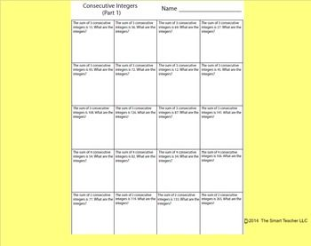 Consecutive Integers Worksheet 1 With Images Integers