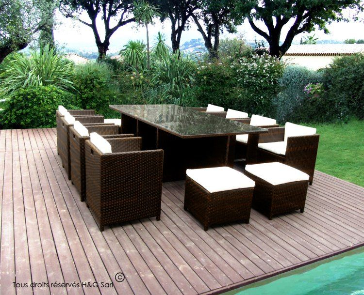 salon de jardin 12 places #encastrables - finition choco : ce